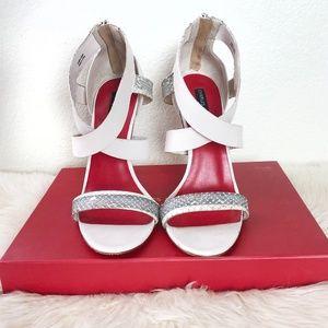 Charles Jourdan bone/snakeskin sandals heels 9.5